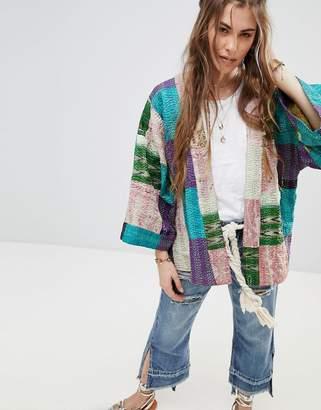 Aratta Premium Silk Patchwork Jacket With Kimono Sleeves