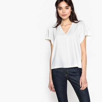 Suncoo Plain Short-Sleeved V-Neck Blouse