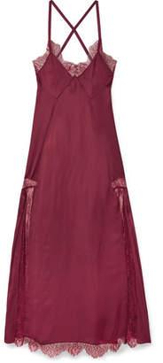 Off-White Elsa Lace-paneled Satin Midi Dress - Burgundy