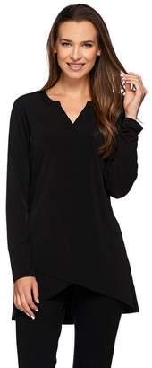 Susan Graver Liquid Knit Long Sleeve Tunic with Crossover Hem