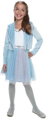 Knitworks Girls 7-16 & Plus Size Rainbow Tulle Dress & Moto Jacket Set