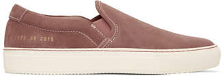 Common Projects Pink Suede Slip-On Sneakers