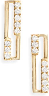Bony Levy Diamond & 18K Gold Open Rectangle Stud Earrings