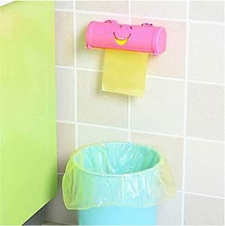 Jeobest 1PC Cartoon Smile Face Hanging Mounted Garbage Bags Storage Box Kitchen Organizer Tool MZ(pink)