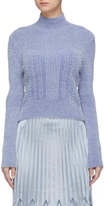 Fengyi Tan Mix velour knit turtleneck top