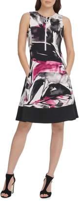 DKNY Scuba Contrast Hem Zipper Sleeveless Fit Flare Dress
