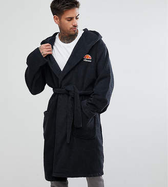 Ellesse Lounge Dressing Gown With Embroidered Logo In Grey