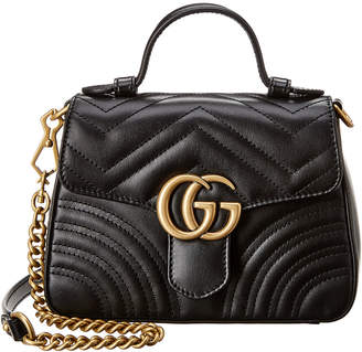 91cde8d1e1a6 Gucci Gg Marmont Top Handle Mini Leather Shoulder Bag