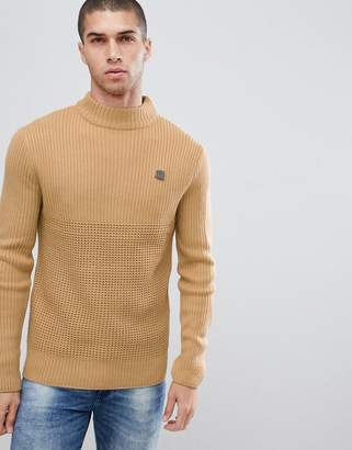 Soul Star Waffle Knit Turtleneck Sweater