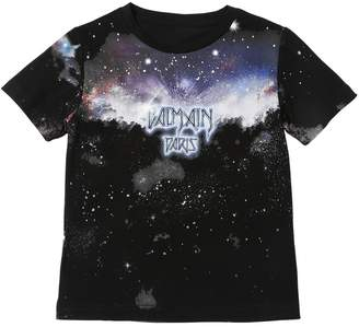 Balmain Galaxy & Logo Cotton Jersey T-Shirt