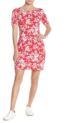 Loveappella Fitted Cross Back Floral Print Dress