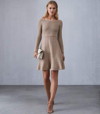 Reiss ASTRA BARDOT KNITTED DRESS Neutral