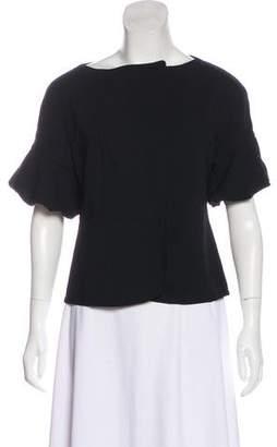 Magaschoni Zip-Up Short Sleeve Top
