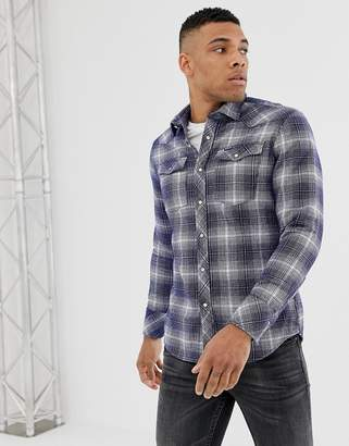 G Star G-Star washed check shirt in blue and off white