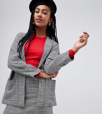 Monki check two-piece oversized blazer in gray
