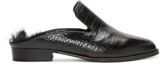 Robert Clergerie Black Croc-Embossed Alicef Loafers $550 thestylecure.com