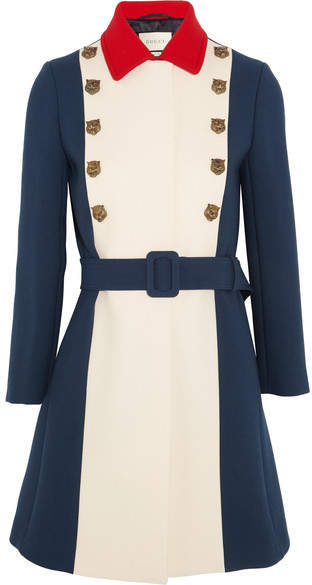 Gucci - Embellished Color-block Wool Coat - Royal blue