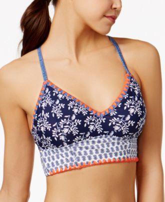 Jessica Simpson Vine About It Printed Lace-Up Bikini Top
