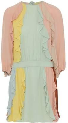 Valentino Ruffle-Trimmed Color-Block Silk Crepe De Chine Mini Dress