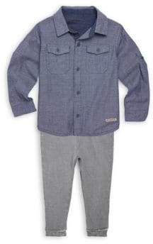 Hudson Little Boy's Two-Piece Chambray Collared Shirt & Cotton Pants Set
