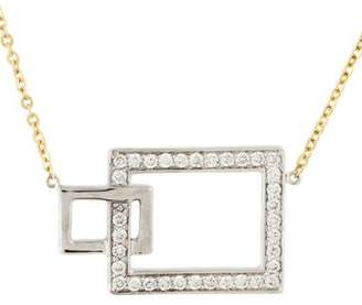 14K Diamond Interlocking Rectangular Pendant Necklace