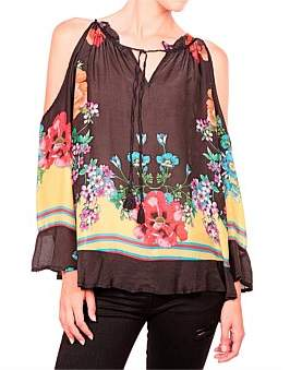 Johnny Was Garden Cold Shoulder Top