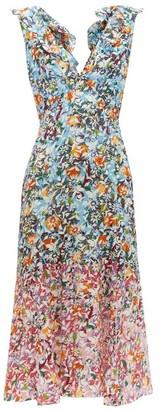 Saloni Holly Floral Print Silk Crepe Dress - Womens - Blue Multi