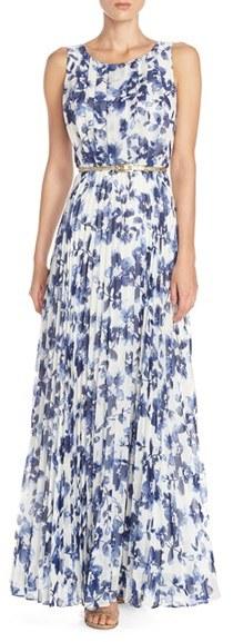Women's Eliza J Floral Pleat Chiffon Maxi Dress