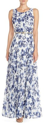 Women's Eliza J Floral Pleat Chiffon Maxi Dress $158 thestylecure.com