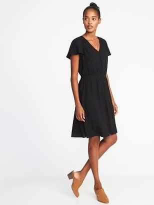 Old Navy Waist-Defined V-Neck Dress for Women