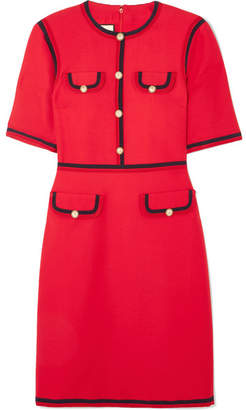 Gucci Faux Pearl-embellished Wool And Silk-blend Mini Dress - Red