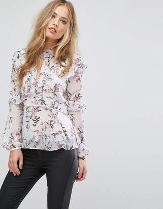 Forever New High Neck Frill Blouse In Floral Print