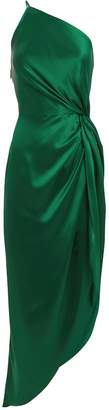 Michelle Mason Twist Knot One Shoulder Emerald Dress