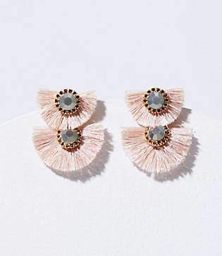 LOFT Crystal Fringe Statement Earrings