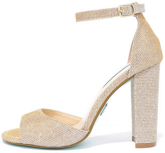 Betsey Johnson Carly Gold Glitter Heels $89 thestylecure.com