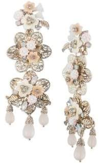 Marchesa Crystal and Goldtone Floral Chandelier Earrings
