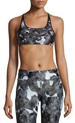 Koral Activewear Beta Strappy Versatility Sports Bra, Snake Camo/Black $125 thestylecure.com