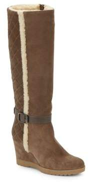 Christine Leather Trimmed-Suede Tall Boots $525 thestylecure.com