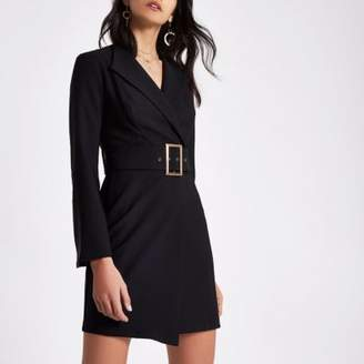 River Island Womens Black bell sleeve belted tuxedo mini dress