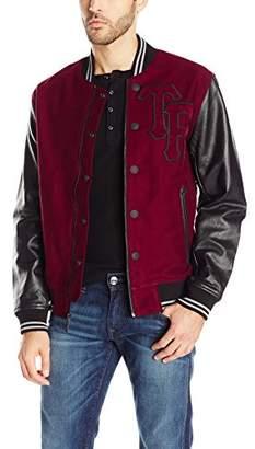 True Religion Men's Moleskin Leather Varsity Collegiate Jacket Bordeaux