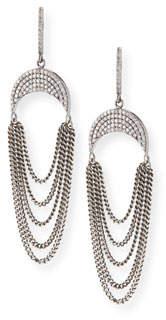 Sheryl Lowe Upside-Down Diamond Pave Crescent Fringe Earrings