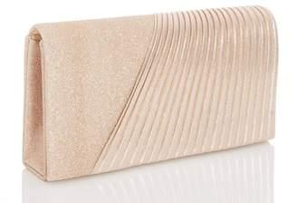 Quiz Gold Shimmer Glitter Clutch Bag