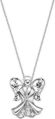 Sentimental Expressions Sterling Silver Cubic Zirconia Angel of Strength Necklace