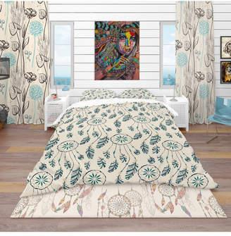 Design Art Designart 'Pattern With Indian-American Dream Catcher' Southwestern Duvet Cover Set - Twin Bedding