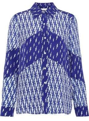 Sandro Cinie Printed Washed Silk-paneled Crepe De Chine Shirt