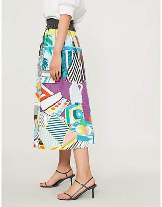 Mary Katrantzou Bowles pop art-print stretch-cotton midi skirt