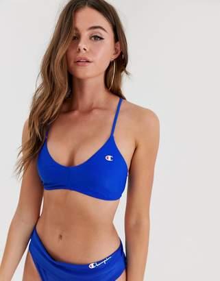 Champion logo bikini top in navy