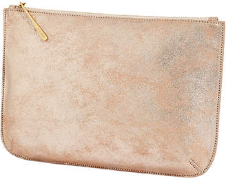 Jigsaw Alana Large Textured Leather Pouch Clutch, Rose Gold