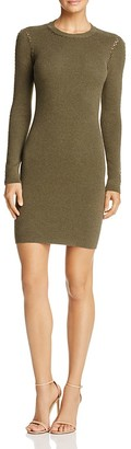 Minnie Rose Laced-Inset Sweater Dress $216 thestylecure.com