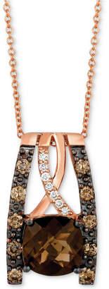 LeVian Le Vian Chocolatier Chocolate Quartz (2 ct. t.w.) & Diamond (3/8 ct. t.w.) Pendant Necklace in 14k Rose Gold